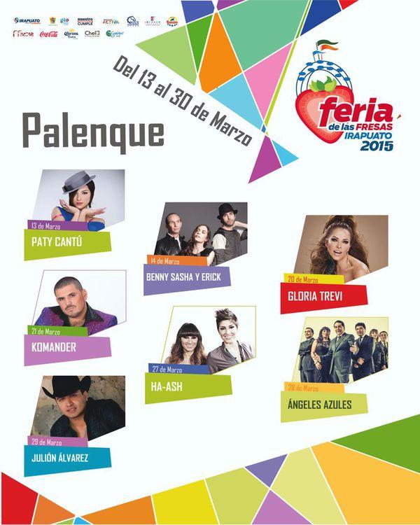 Cartelera del Palenque Feria Irapuato 2015