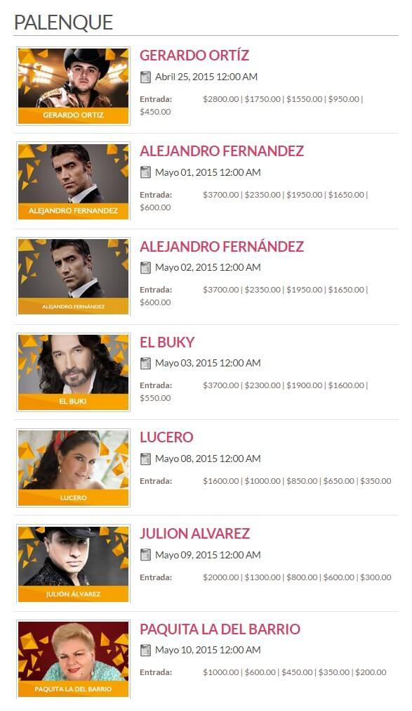 Programa y Precios del Palenque de Puebla 2015