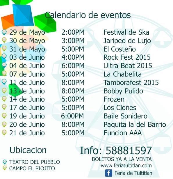 Programa de la Feria Tultitlan 2015