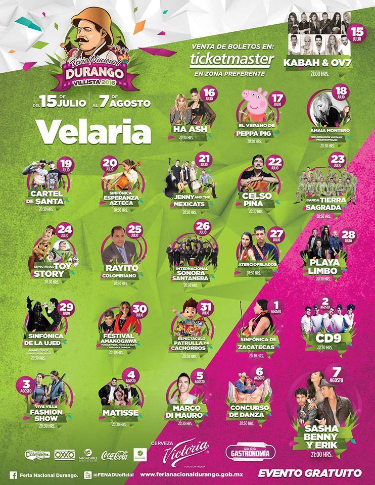 Programa de la Velaria FENADU 2016