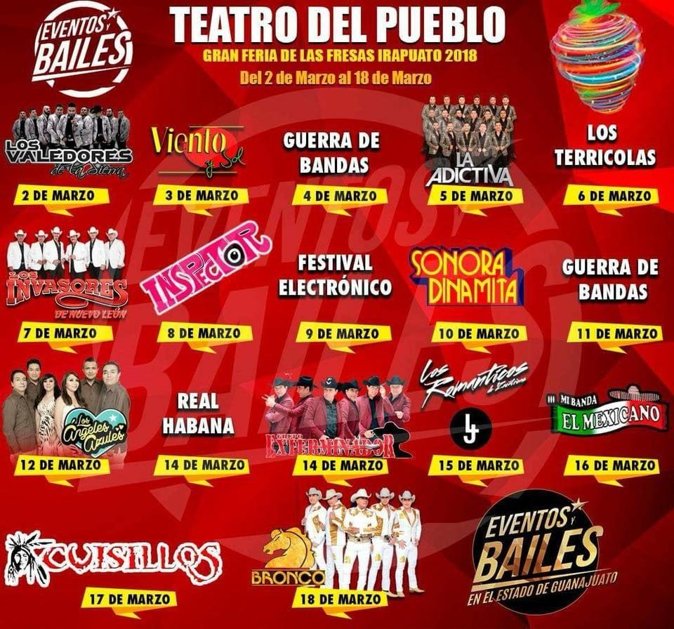 Cartelera Teatro del Pueblo Feria de las Fresas Irapuato 2018