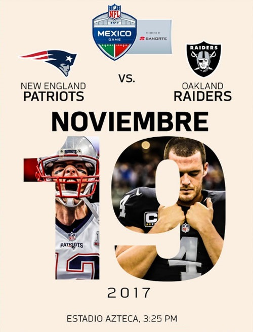 Boletos NFL Mexico 2017 Patriots vs Raiders Estadio Azteca