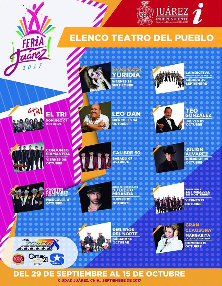 Cartelera Teatro del Pueblo Feria Arriba Juarez 2017