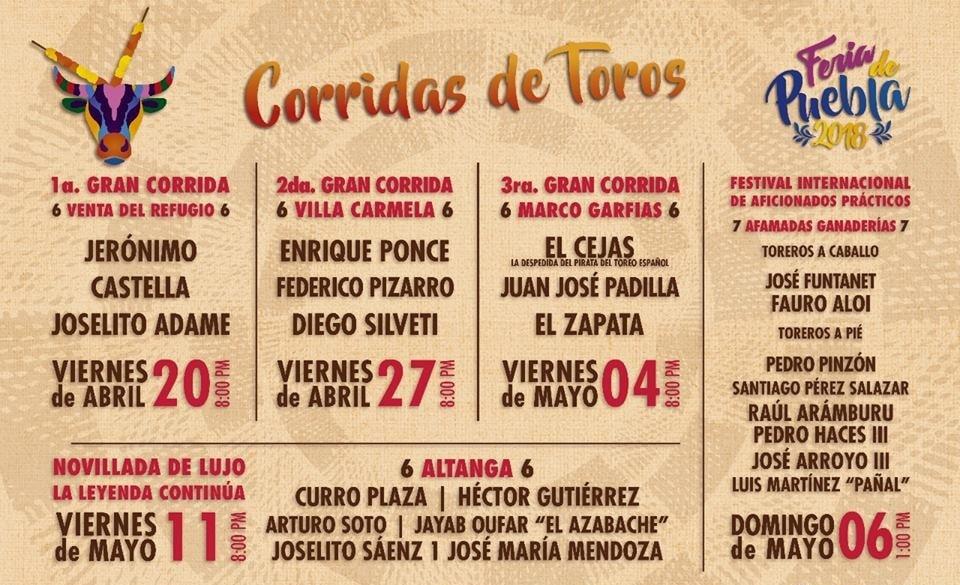 Corridas de Toros de la Feria Puebla 2018