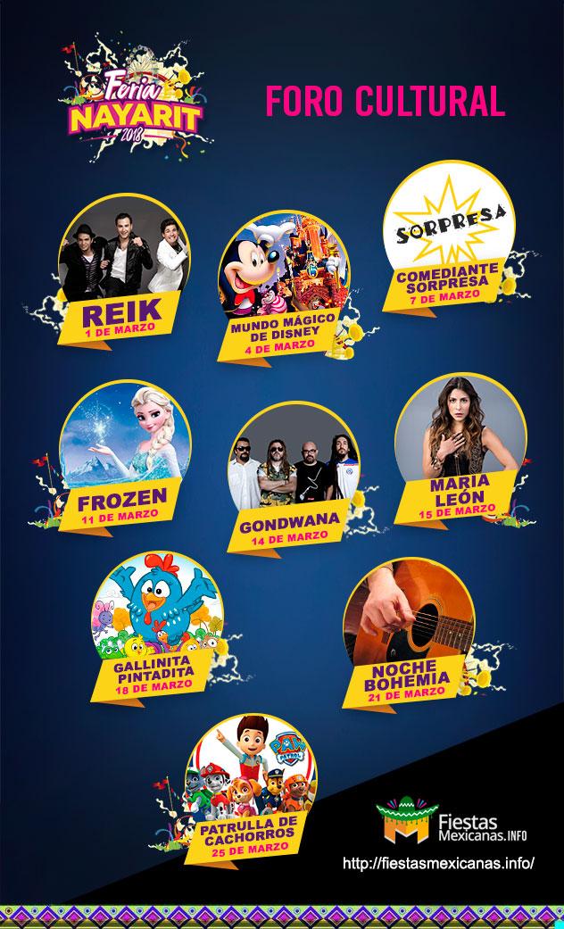 Elenco del Foro Cultural Feria Nayarit 2018