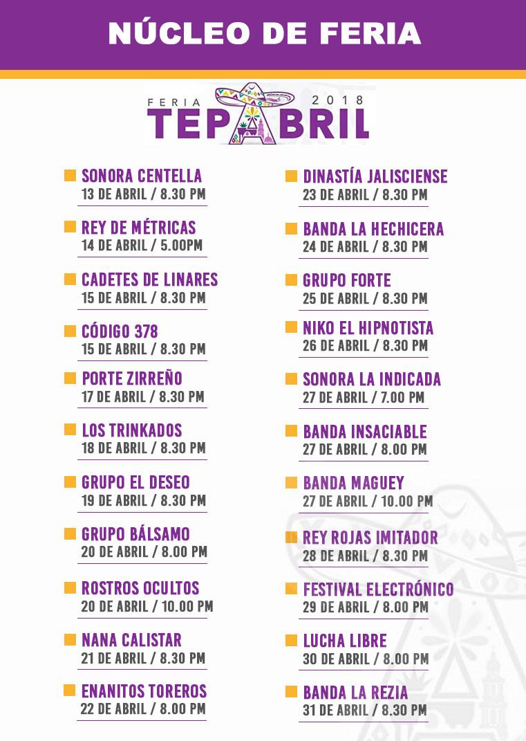 Programa Nucleo de feria de la Feria Tepabril 2018