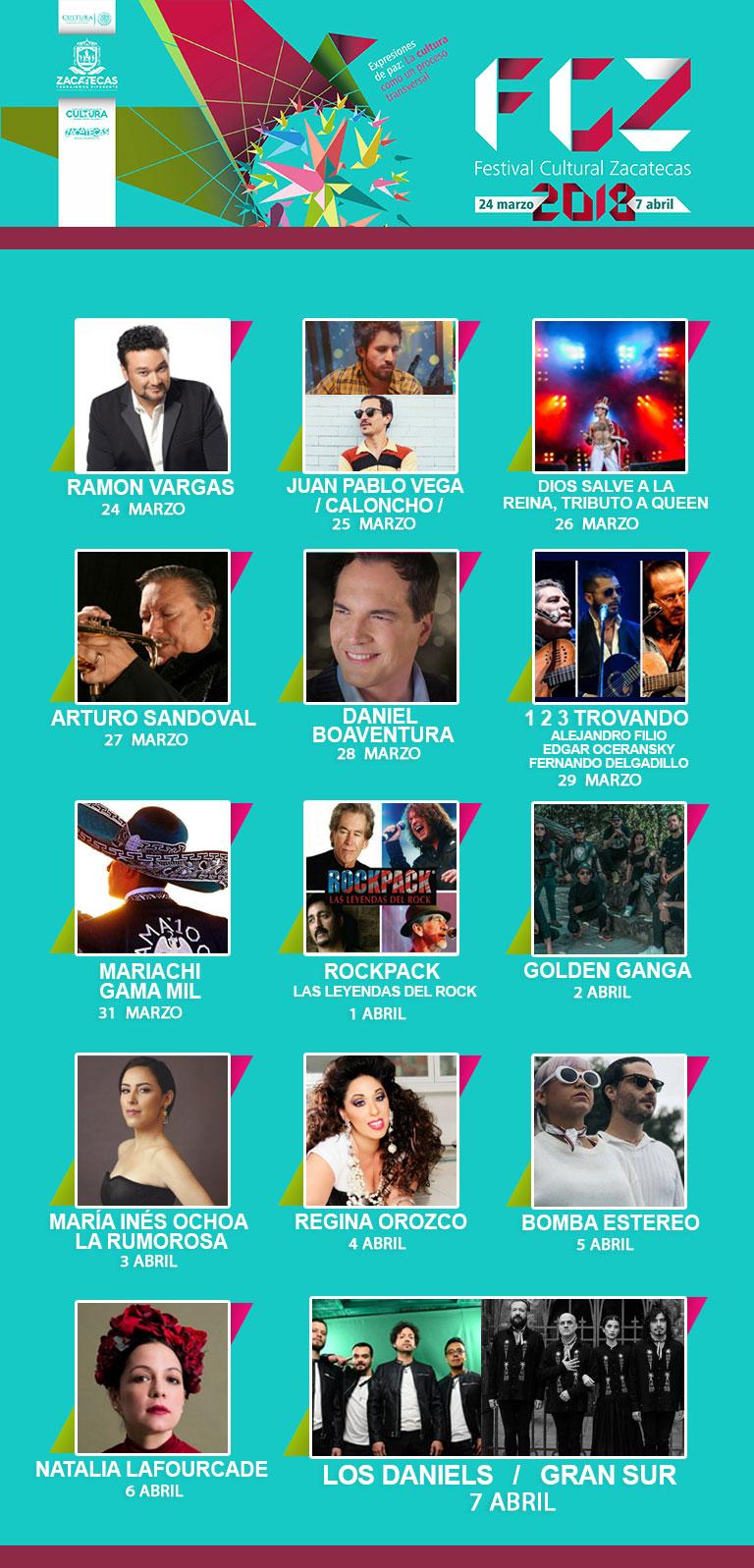Programa y artistas del Festival Cultural Zacatecas 2018