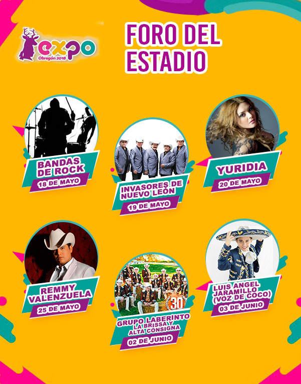 Cartelera Foro del Estadio Expo Obregon 2018