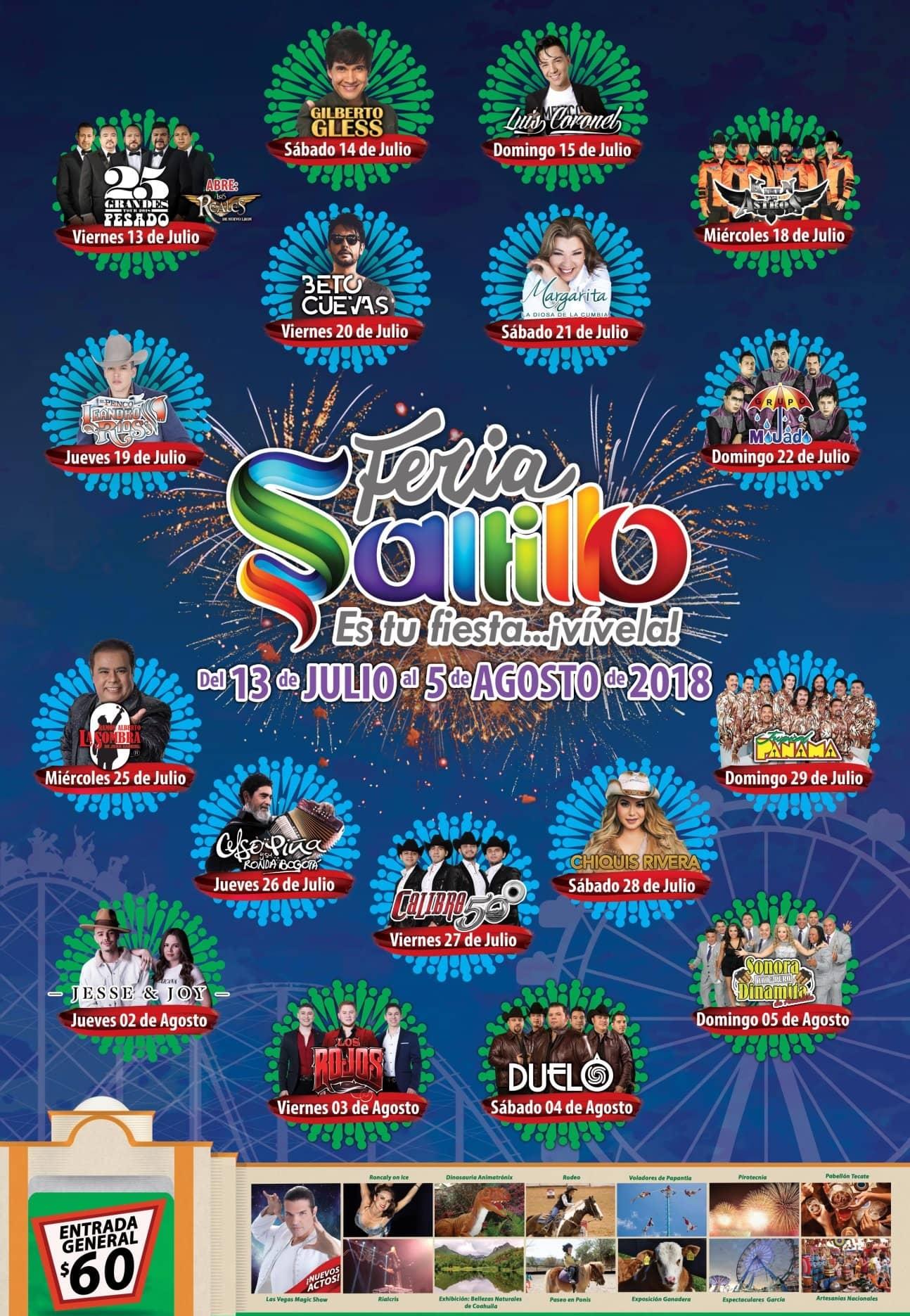 Elenco Artístico de la Feria Saltillo 2018