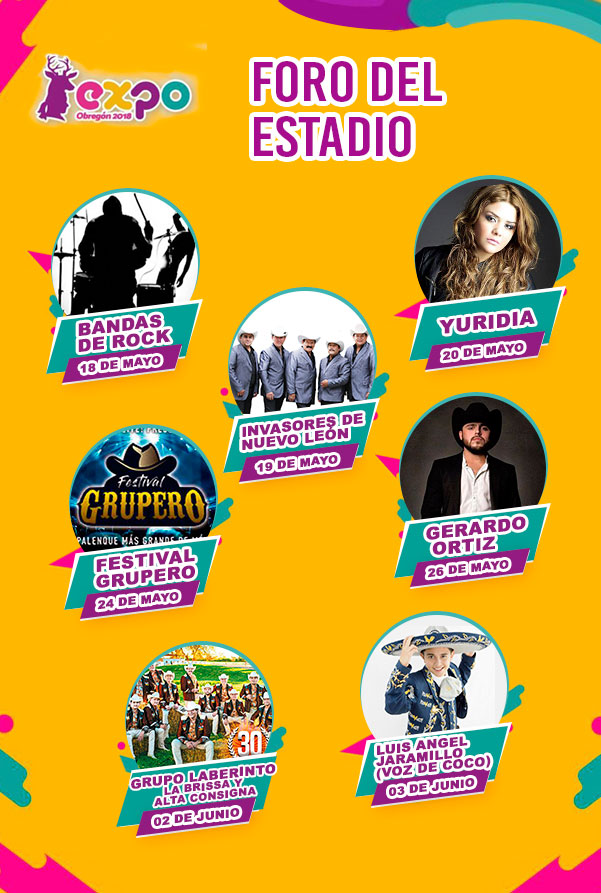 Artistas Foro del Estadio Expo Obregon 2018