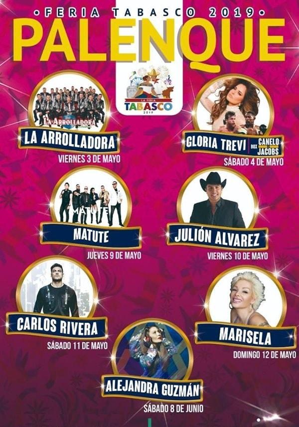Cartelera Palenque Feria Tabasco 2019