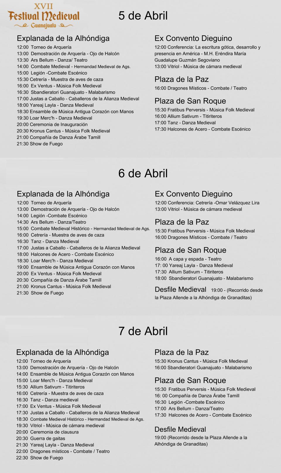 Programa Festival Medieval Guanajuato 2018