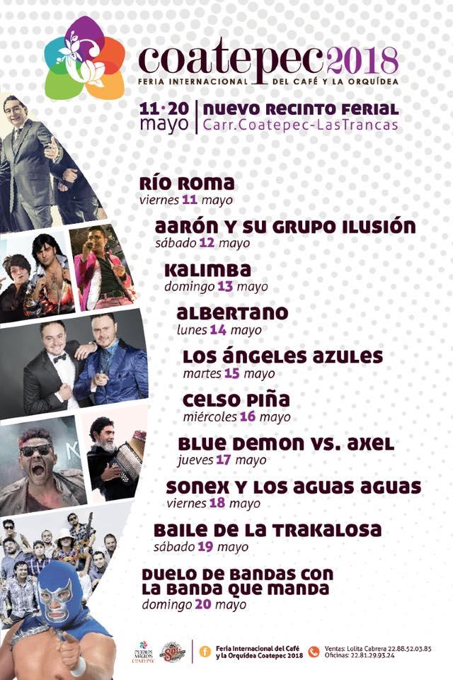 Cartelera y artistas Feria de Coatepec 2018
