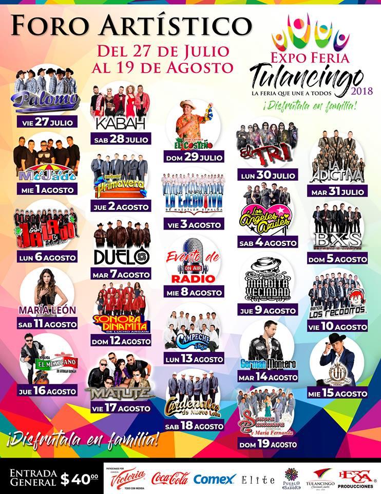 Elenco del Foro Artistico Feria Tulancingo 2018