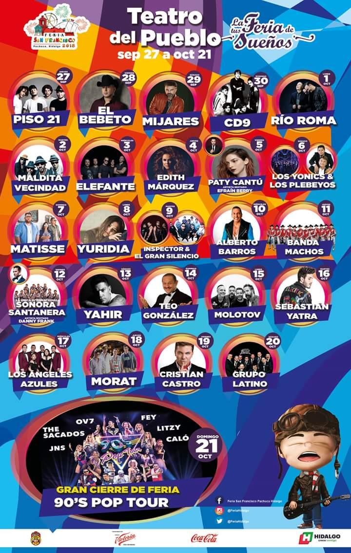 Cartelera Teatro del Pueblo Feria Pachuca 2018