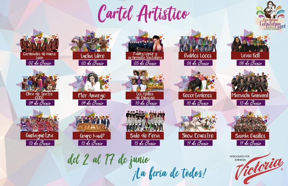 Cartelera Feria Calpulalpan 2018