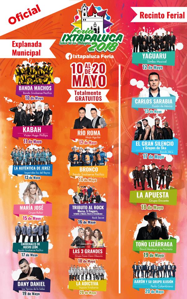 Cartelera Feria Ixtapaluca 2018