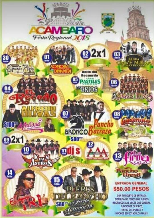 Cartelera Feria Regional Acambaro 2018