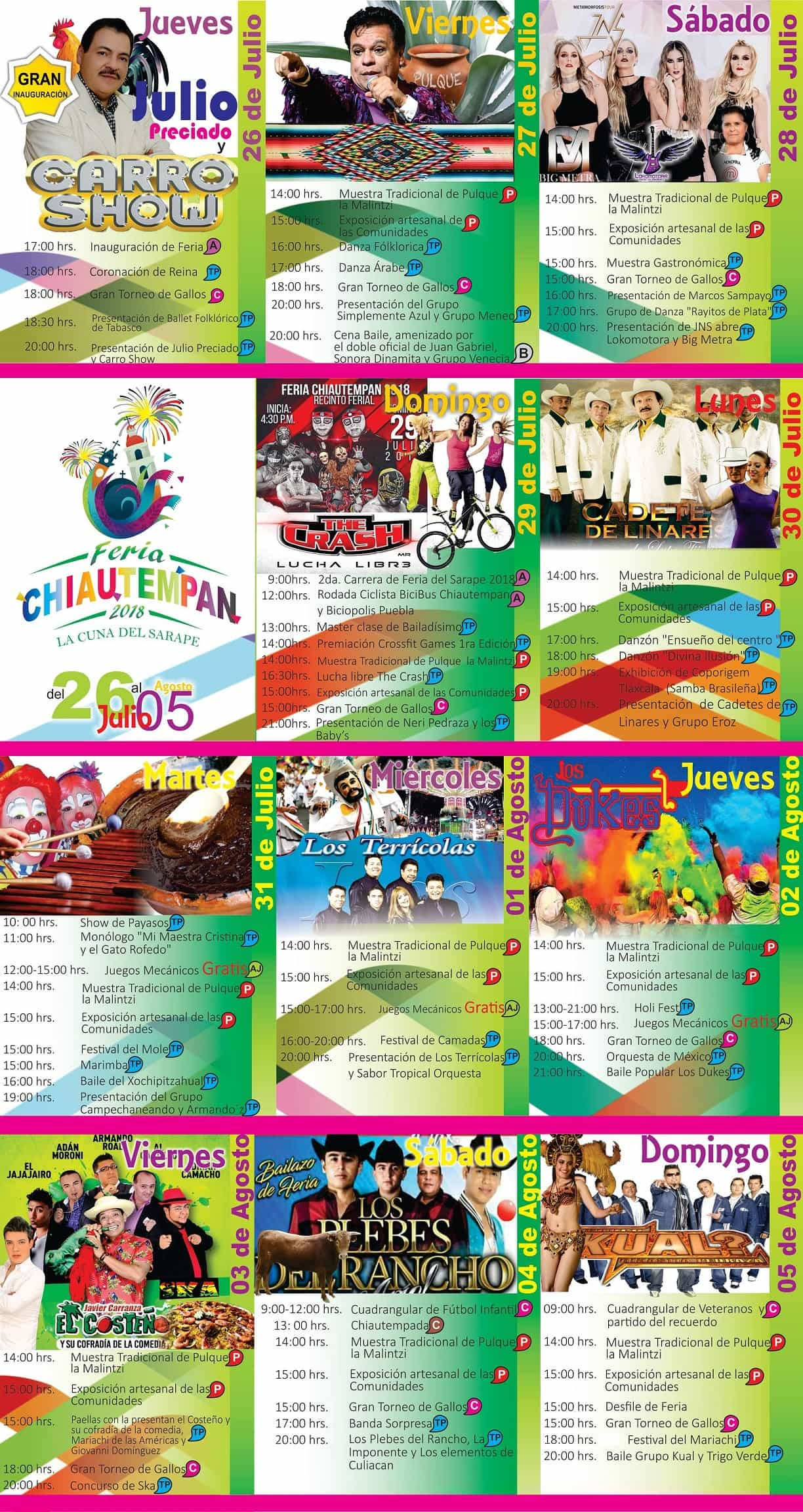 Cartelera Feria Chiautempan 2018