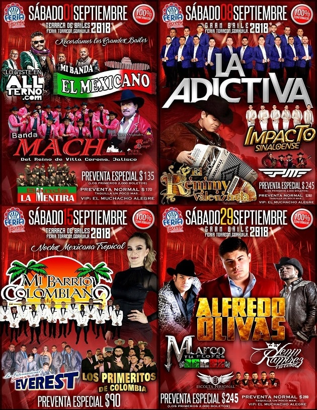 Cartelera de la Feria Torreon 2018