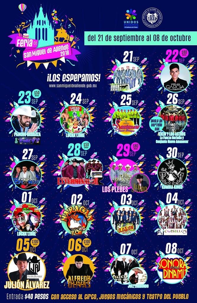 Cartelera de la Feria San Miguel de Allende 2018