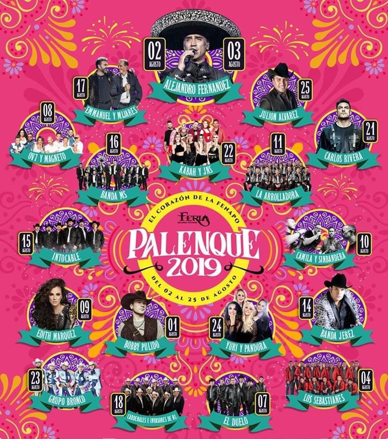 Cartelera del Palenque FENAPO 2019