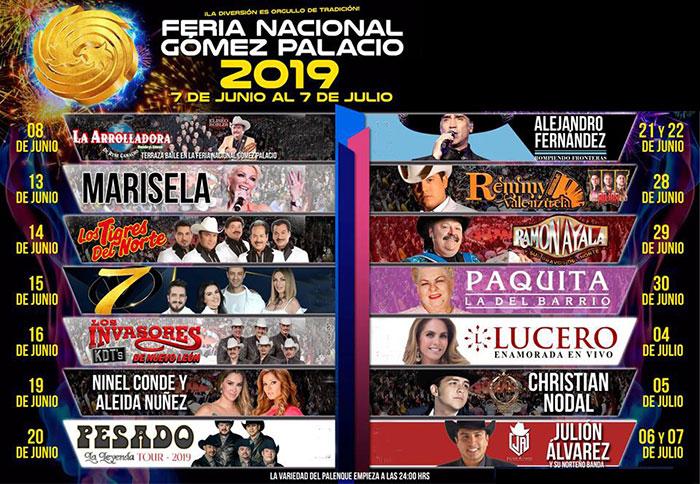 Cartelera del Palenque Feria Gomez Palacio 2019
