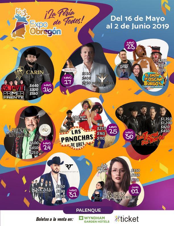 Cartelera Palenque Expo Obregon 2019